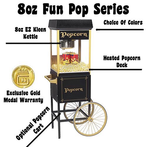 gold medalu0027s fun pop 8 family of popcorn machines features an 8oz stainless steel popcorn kettle choose from the traditional red fun pop 8 or go all out - Gold Medal Popcorn