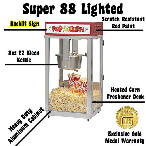 gold medals super 88 lighted popcorn machine features heavy duty all welded frame 8 oz ez kleen kettle removable - Gold Medal Popcorn